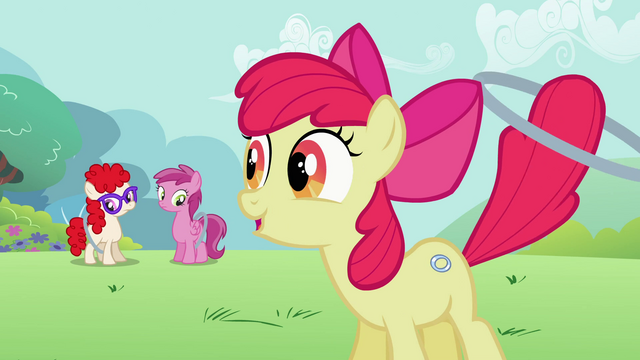 "File:Apple Bloom ""Great job, girls!"" S2E6.png"