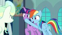 Rainbow plugs Twilight's muzzle again S6E24