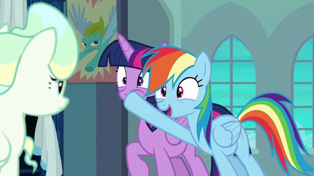 File:Rainbow plugs Twilight's muzzle again S6E24.png