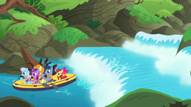 File:Apple Bloom and ponies riding on a boat on a river S6E4.png