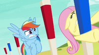 Fluttershy slams into an obstacle peg S6E18