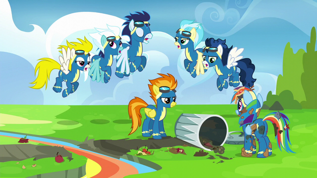 File:Wonderbolts reciting rule number one S6E7.png
