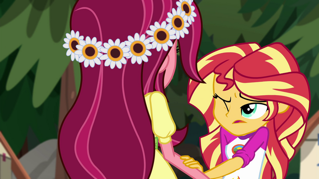 File:Sunset Shimmer puts a hand on Gloriosa's arm EG4.png