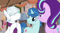 Double Diamond excitedly clapping his hooves S6E25