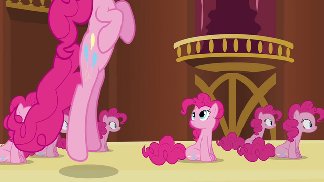 File:Pinkie Pie clone watching Pinkie clone bounce S3E3.png