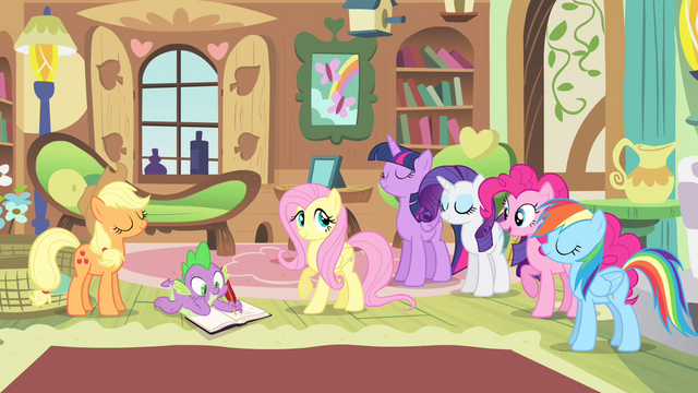 File:Ponies agreeing with Fluttershy S4E07.png