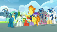 Spitfire points at Sky Stinger; Sky salutes S6E24