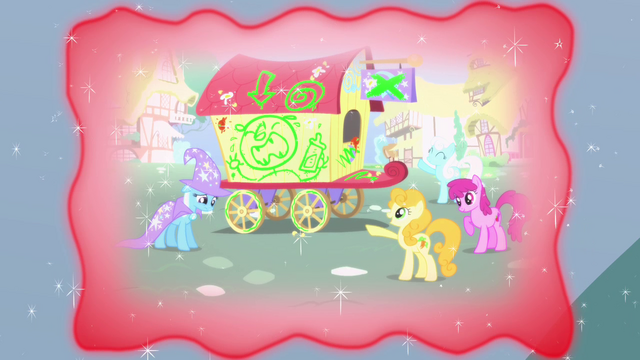 File:Trixie showing a flashback of her being ridiculed by the other ponies S3E5.png