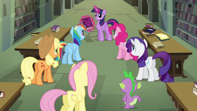 "File:Mane 6 and Spike ""there must be a connection!"" S4E25.png"