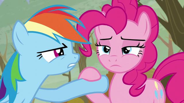 File:Pinkie puts down Rainbow's hoof S5E5.png