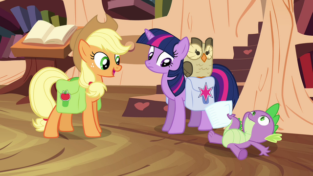 File:Twilight and Applejack see Spike on the floor S03E11.png