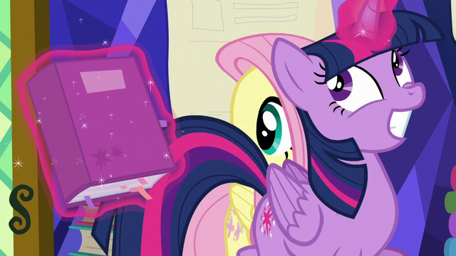File:Twilight giddily trots past Fluttershy S5E23.png