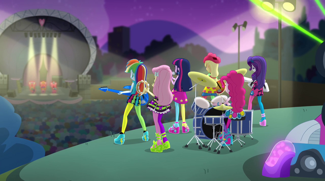 File:Rainbooms on hill and Dazzlings on stage EG2.png