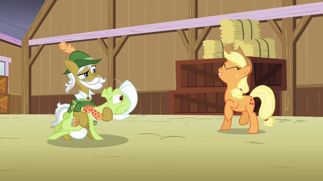 "File:Raise This Barn - Applejack ""yee-haw!"" S3E8.png"