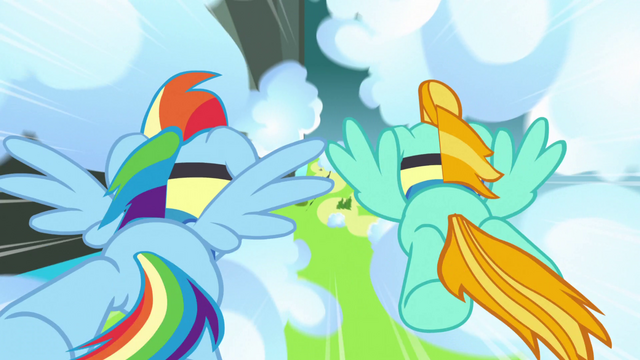 File:Lightning and Rainbow flying after the flag S3E7.png