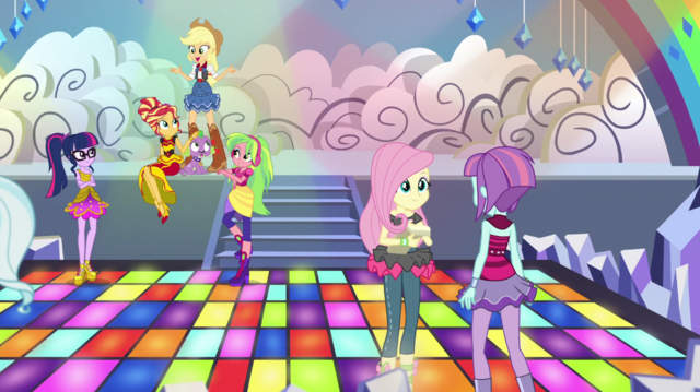 File:Rainbooms and Shadowbolts making a music video EGS1.png