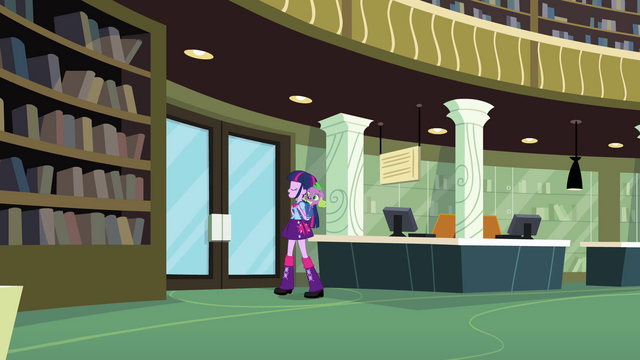 File:Twilight and Spike about to exit the library EG.png