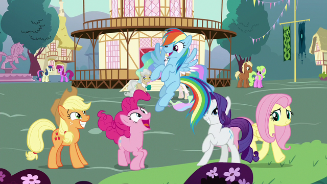 File:Main five ponies in Celestia's flashback S7E1.png