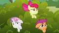 Cutie Mark Crusaders scared of the griffon S6E19.png