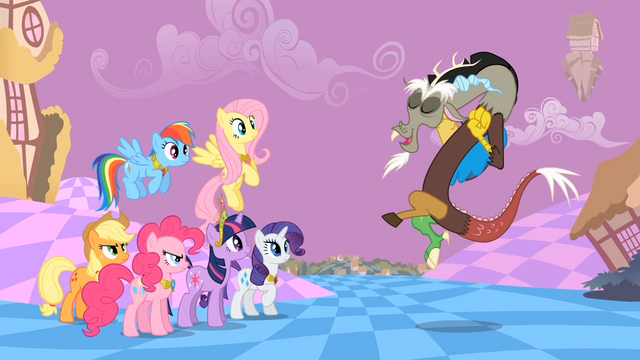 File:Main ponies Discord Mocking S2E2.png