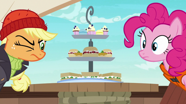 File:Applejack and Pinkie look at Rarity's platter S6E22.png