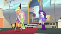 Chestnut Magnifico walks past Fluttershy and Rarity EGS2.png