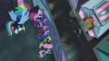 Power Ponies looking down at Mane-iac S4E06.png