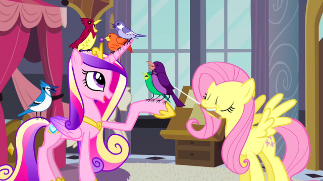 File:Princess Cadance and Fluttershy with birds S2E26.png