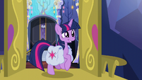 Twilight trotting happily out the door S5E23