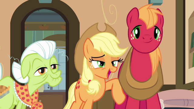 "File:Applejack ""try to tone it down"" S4E09.png"
