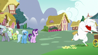 Bulk Biceps, Granny, and Jeweler Pony leaving S7E2