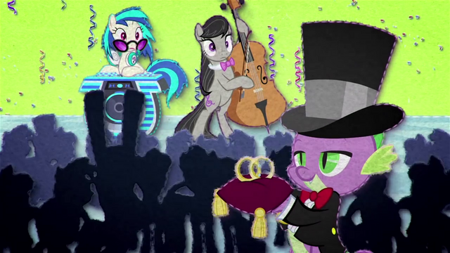 File:DJ Pon-3, Octavia, and Spike at the wedding BFHHS1.png
