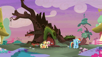 Rainbow Dash and Pinkie Pie follow Rarity S5E3