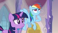 Twilight anxious and Rainbow Dash thinking S03E12