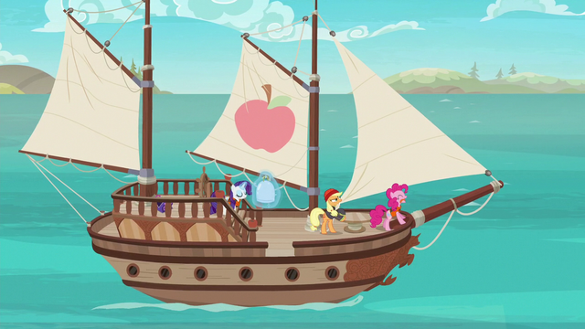File:Applejack, Rarity, and Pinkie sailing on a boat S6E22.png