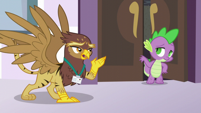 File:Spike helping the Griffonstone delegate S5E10.png