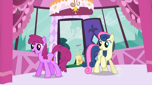 File:Sweetie Drops and Berryshine enter Rarity's boutique searching for Fluttershy S1E20.png