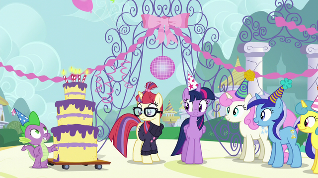 File:Twilight, Spike, and old friends gather around Moon Dancer S5E12.png