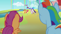 Applejack and Rarity take off with Apple Bloom and Sweetie Belle S3E6.png