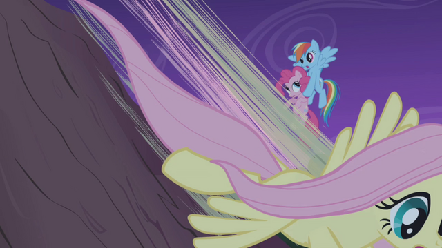 File:Fluttershy speeds down while Rainbow catches Pinkie S1E02.png