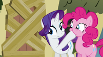 Rarity covers Pinkie Pie's mouth S2E19