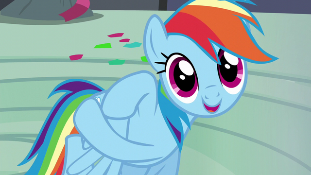 "File:Rainbow Dash ""hello, Captain Awesome!"" S6E7.png"