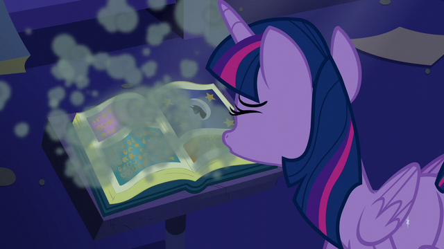 File:Twilight blows off dust from the book S5E12.png