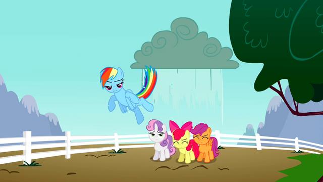 File:Rainbow Dash makes rain fall on the CMC S2E23.png