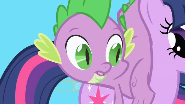 File:Spike lands on Twilight's back S1E01.png