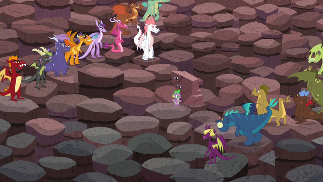 File:The dragons distance themselves away from Spike to make him more visible to Torch S6E5.png