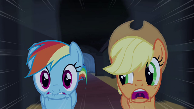 File:Applejack and Rainbow Dash running S4E3.png