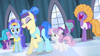 Sapphire and dancers laughing at Rarity S4E19
