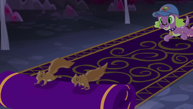 File:Squirrels unfurl carpet as Spike chases them EG4.png