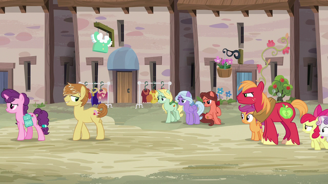 File:Sugar Belle and Feather walk away from Big Mac and CMCs S7E8.png